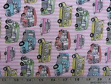 TIMELESS TREASURES ICE CREAM TRUCKS PINK COTTON FABRIC BTY
