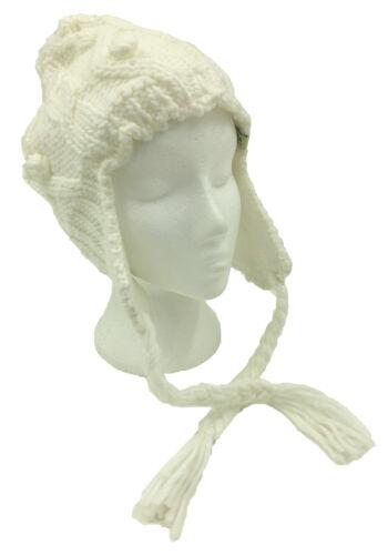 Damen Fleecefutter Grob Gestrickt Zopfmuster Peruvian Wintermütze