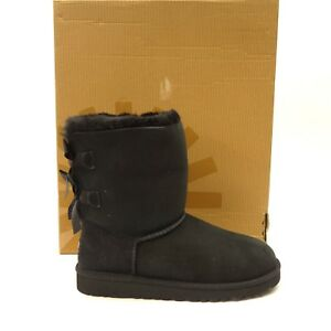 2da4228fe48 New UGG Kids Bailey Bow II Black Suede Shearling Boots 1017394 Size ...