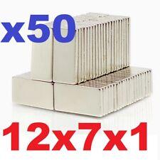 Neodymium Block Magnets 12mm X 7mm X 1mm Small Strong Thin Neo Magnet 12x7x1 Mm