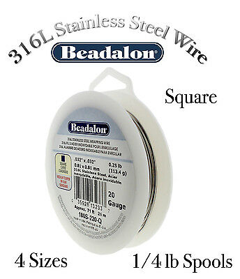 STAINLESS STEEL 316L Wire (18 - 24 Gauges) SQUARE Wire Beadalon - 1/4lb Spools