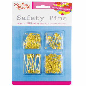 Safety Pins Assorted Size Small Medium Large Gold Metal Sewing Crafts 107 Pieces
