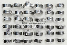 Wholesale Lots jewelry 30pcs Stainless Steel Silver Tone Cut Animal Rings FREE
