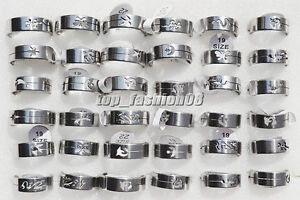 Wholesale-Lots-jewelry-30pcs-Stainless-Steel-Silver-Tone-Cut-Animal-Rings-FREE