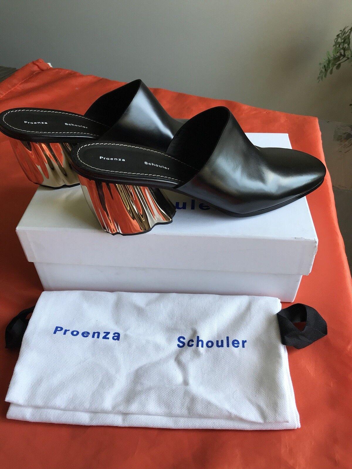 Proenza Schouler Calf Leather Black Mule Mirror Heel Mule Sz.40