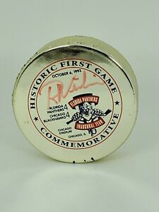 ROGER-NEILSON-Signed-Florida-Panthers-1st-Game-1993-GOLD-Hockey-Puck-11-500