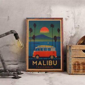 CompéTent Poster Malibu Usa Vintage Affiche Portrait Image Mur Rétro Vacances Deco Art Nouveau-afficher Le Titre D'origine