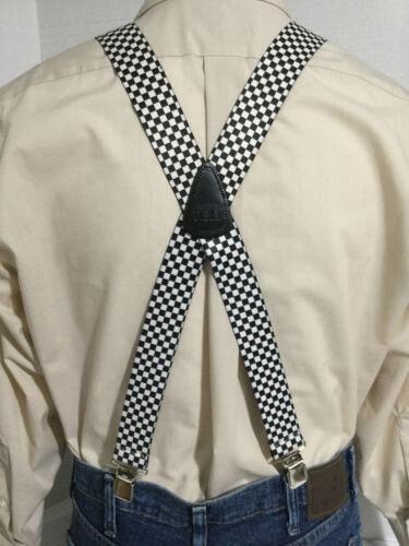 """1.5/"""" Homme Bretelles//Bretelles USA XL Noir /& Blanc Damier Adj NEUF"""