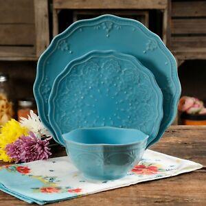 24 Pc Elegant Dinnerware Farmhouse Lace Set Dishes Plates Bowls Light Blue 85081459121 Ebay