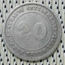 Straits Settlements - 1883 - 20 Cents Victoria Silver #CBLF