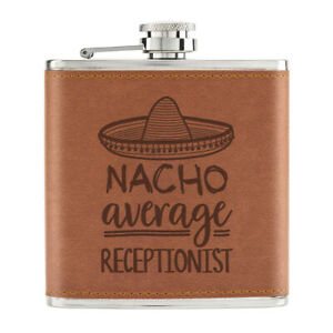 Nacho-Moyenne-Receptionniste-170ml-Cuir-PU-Hip-Flasque-Fauve-Worlds-Best-Awesome