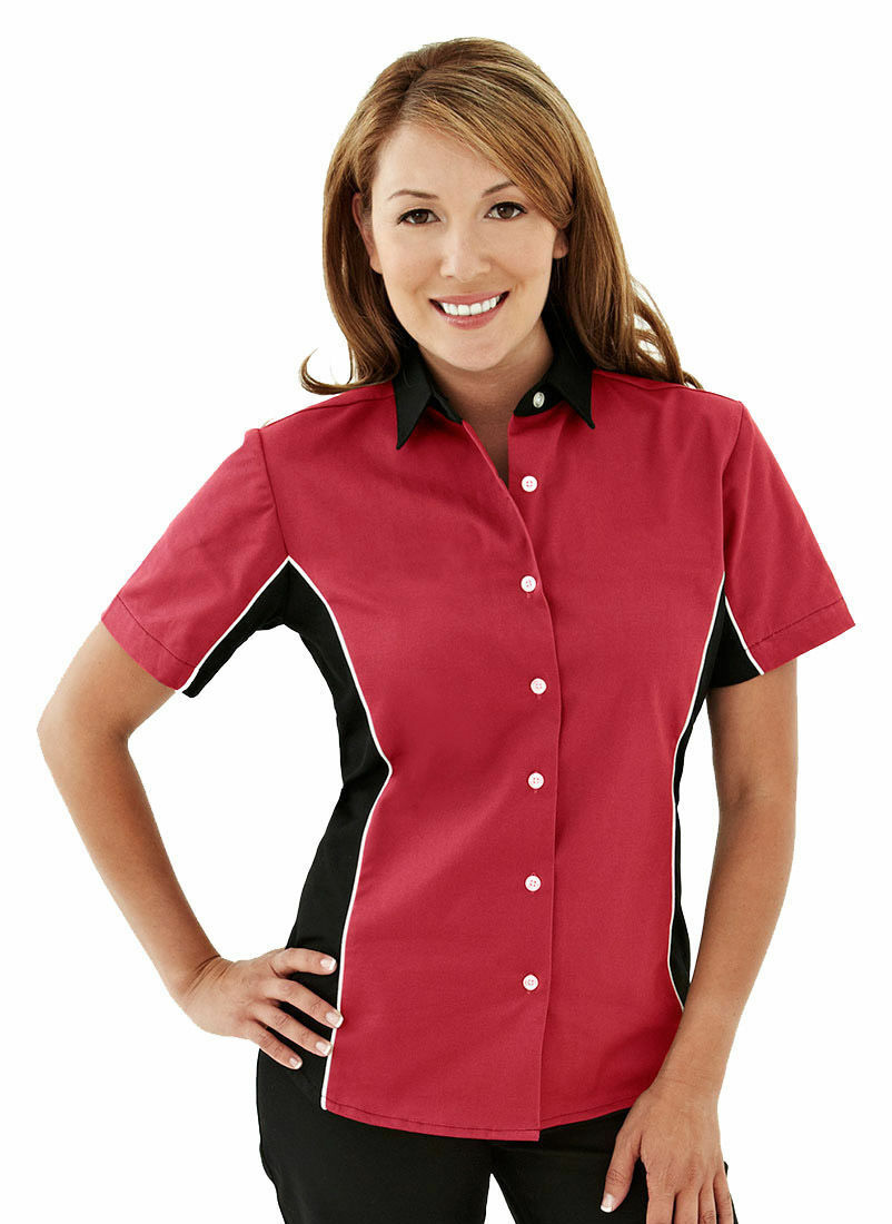 Tri-Mountain Women's Contrast Panels Short Sleeve Casual Shirt XS-4XL. 904