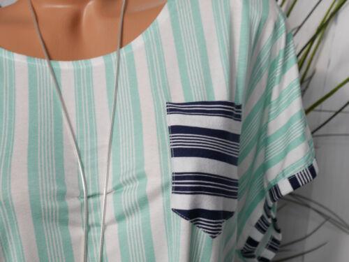 1 650 Sheego Shirt Kurzarm weiß mint gestreift Gr 40//42 bis 56//58 Übergröße