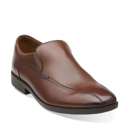 Clarks Glenrise Step Men's Walnut Leather Slip On Dress shoes 26107764