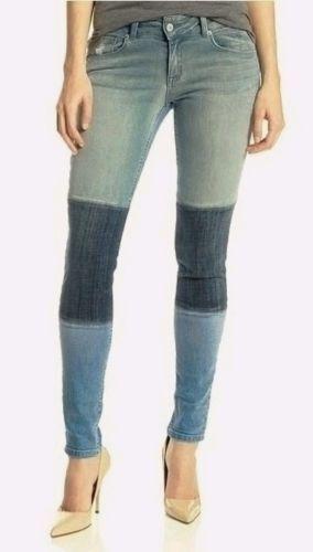 Sold Design Lab Denim Soho Super Skinny Jean in multi-bluee Patch Retail   24