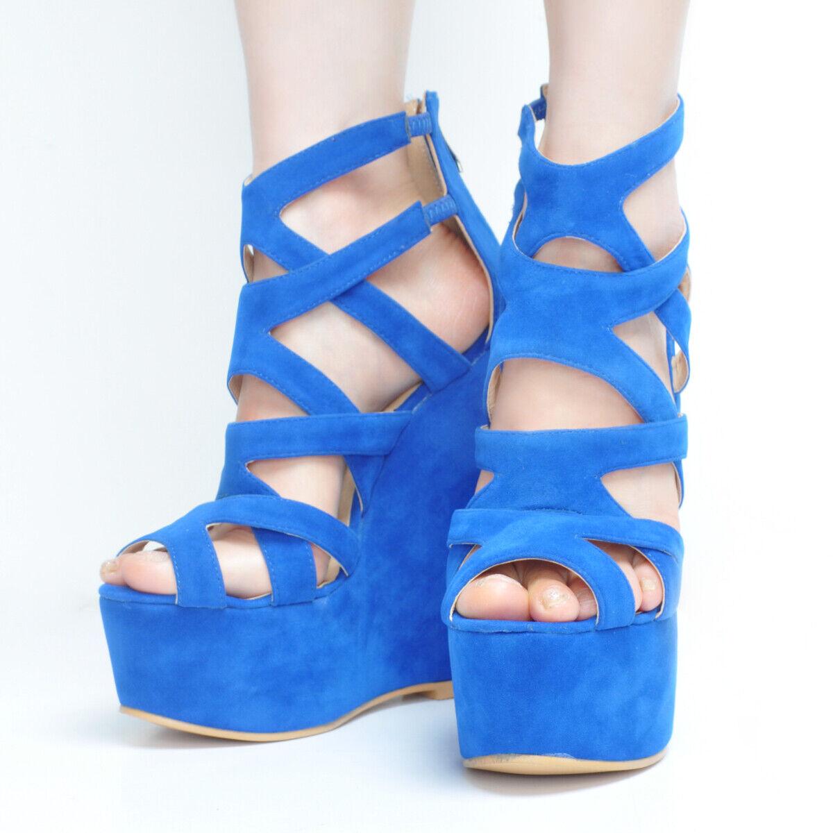 Femmes talons compenses sandales sandales sandales Escarpins Plateforme Talons Hauts creux en Daim Synthétique Chaussures Taille Plus  différentes tailles