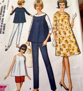 c52dcc890 LOVELY VTG 1960s MATERNITY DRESS BLOUSE TOP PANTS Sewing Pattern 12 ...