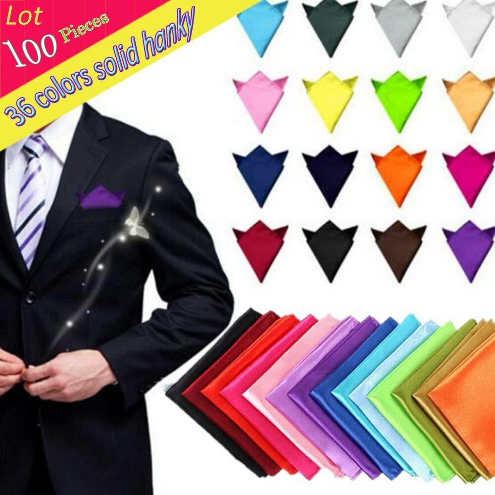 (100 pcs/lot) Men's Solid Plain Polyester Silk Hanky Pocket Square Handkerchief
