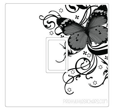 Black White & Grey Butterfly Light Switch Sticker vinyl skin cover decal floral