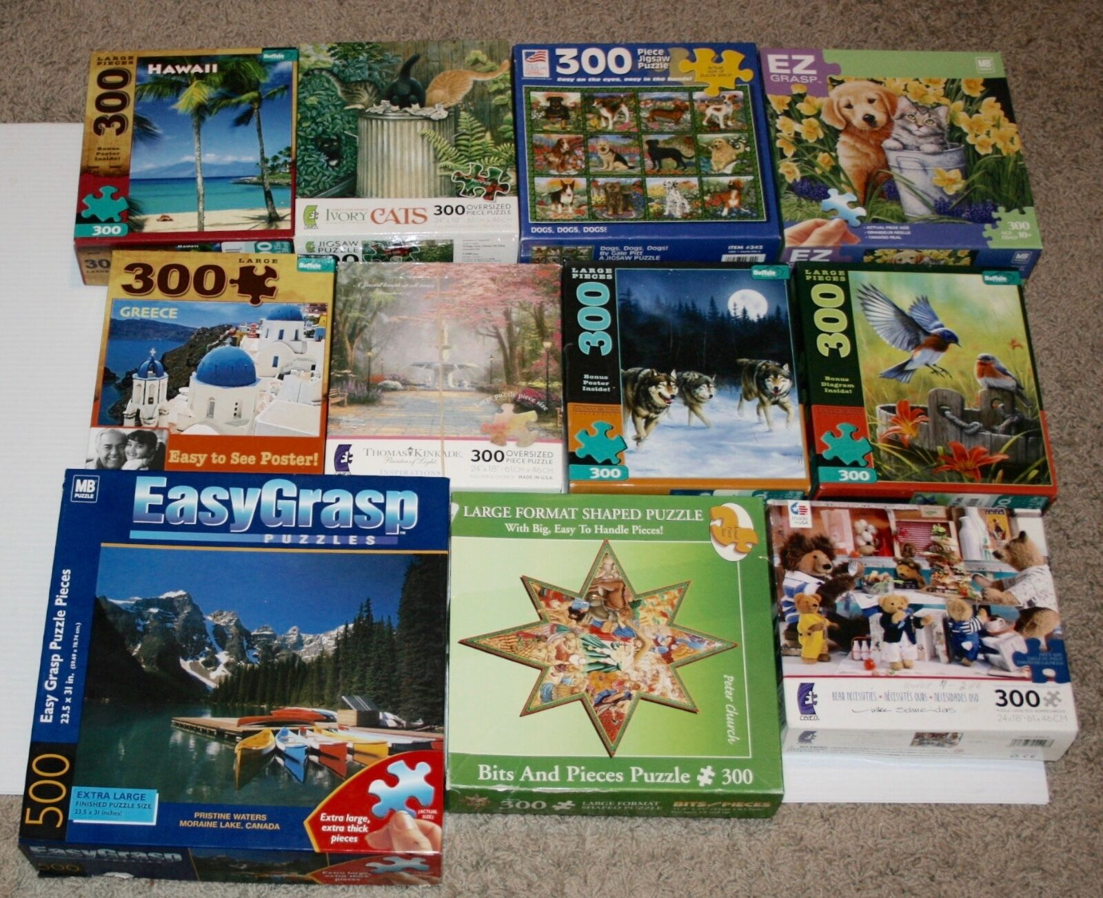 Set of 11 Large format 300 piece Puzzles - All complete see the built photos