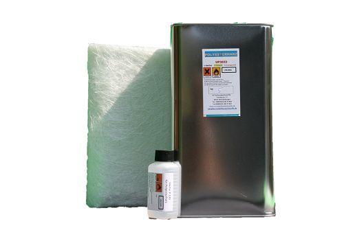 Polyesterharz klebfrei 10 kg+ 200 g Härter +10 m² Glasmatte 225 g m² GFK