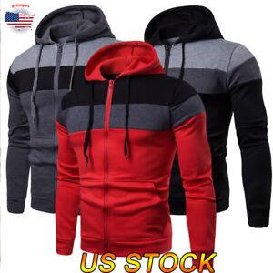 Men/'s Solid Full Zip Up Hoodie Classic Hooded Zipper Sweatshirt Jacket Coat Tops