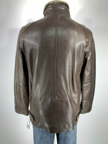 Tall Andrew Marc NY New NWT Luxurious Real Leather ESPRESSO Brown Coat size LT