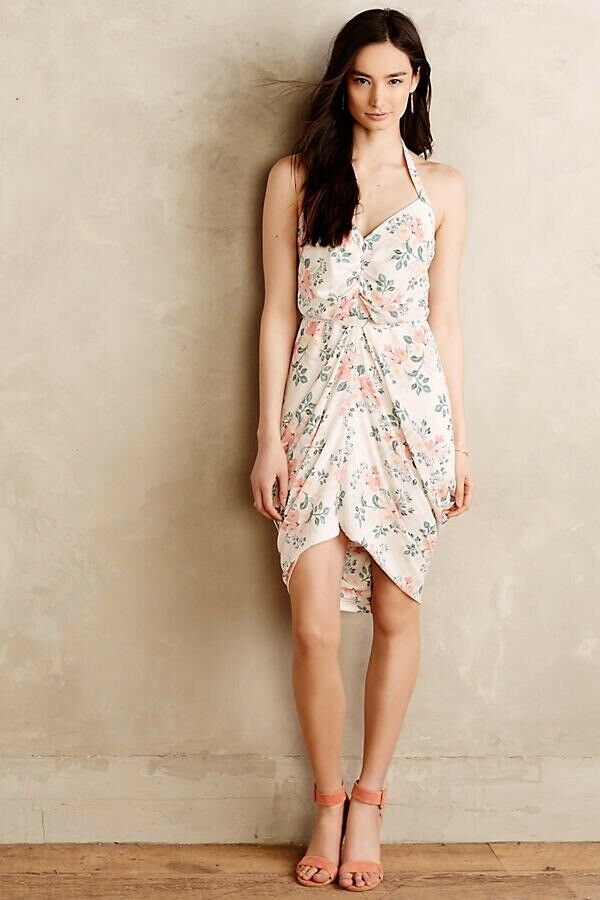 NWT Anthropologie Paper Crown & Rifle Paper Co Draped Bouquet dress M