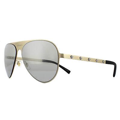 Diligente Occhiali Da Sole Versace Ve2189 13396g Spazzolato Oro Pallido Grigio Chiaro Silver Mirror-mostra Il Titolo Originale