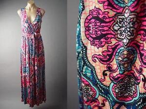 Mosaic-Art-Nouveau-Exotic-Colorful-Tapestry-Faux-Wrap-Long-Maxi-144-mv-Dress-S-L