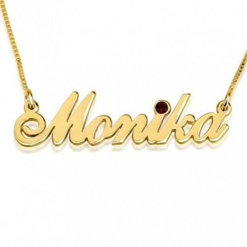 Gold Plated Personalized Name Pendant oNecklace ® Birthstone Name Necklace