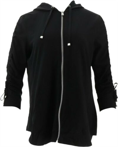 Isaac Mizrahi SOHO Ruched Slv Zip Front Hoodie Black M NEW A307998