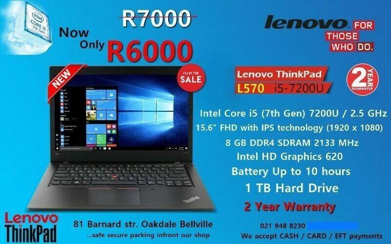 New Lenovo ThinkPad L570 - 7th gen Core i5 – 8GB DDR4 – 15.6'' Full HD – 2 Year Warranty.