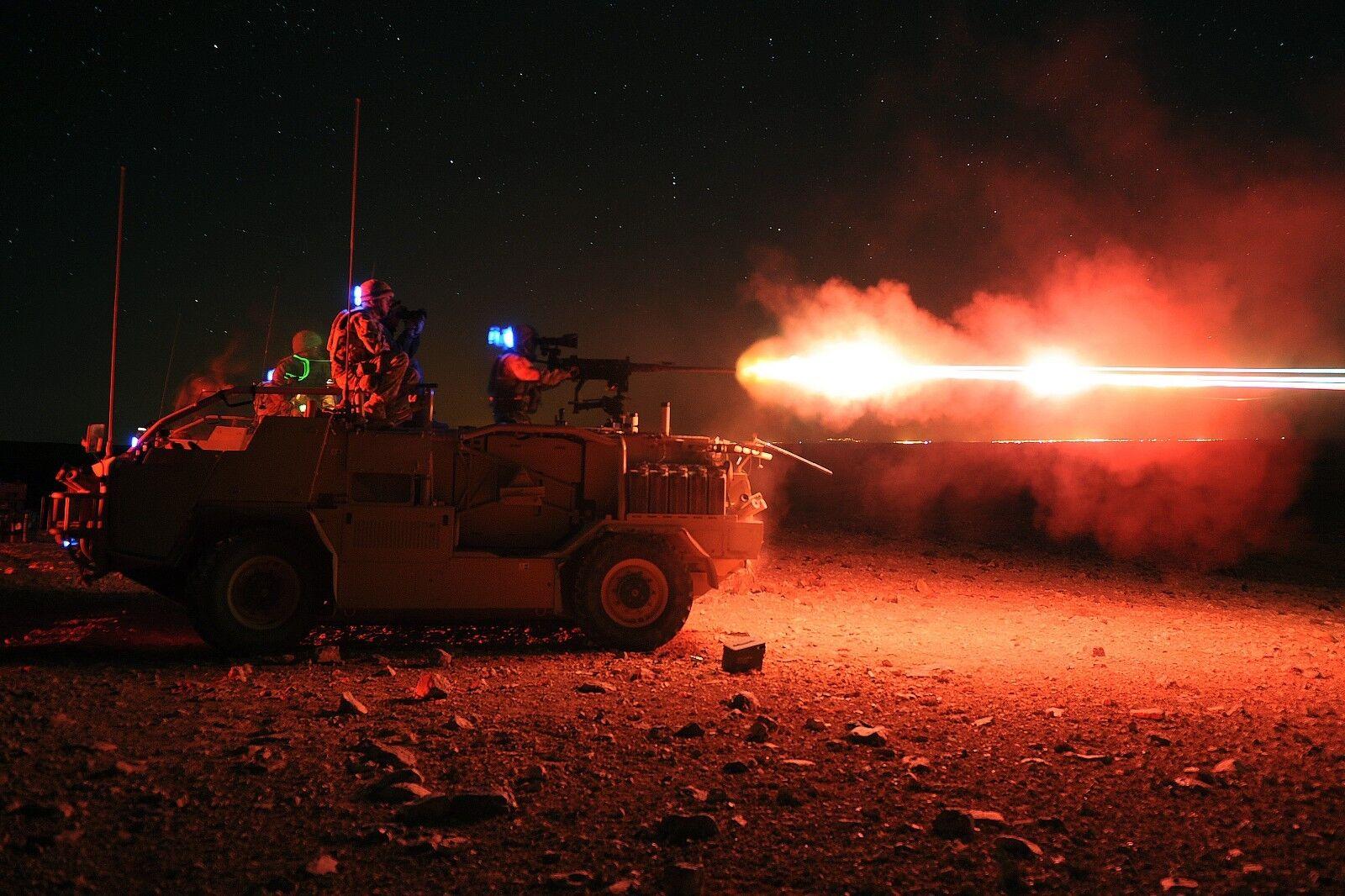 BRITISH ARMY  '50 CAL NIGHT FIRE Military Photo Print