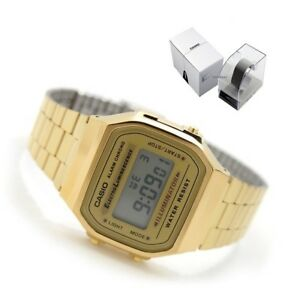 CASIO-A168WG-9W-RETRO-VINTAGE-LOOK-DIGITAL-GOLD-TONE-STEEL-BAND-UNISEX