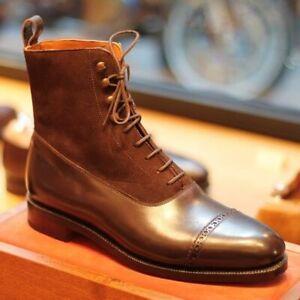 Bottines à lacets en cuir et daim marron à la main pour hommes