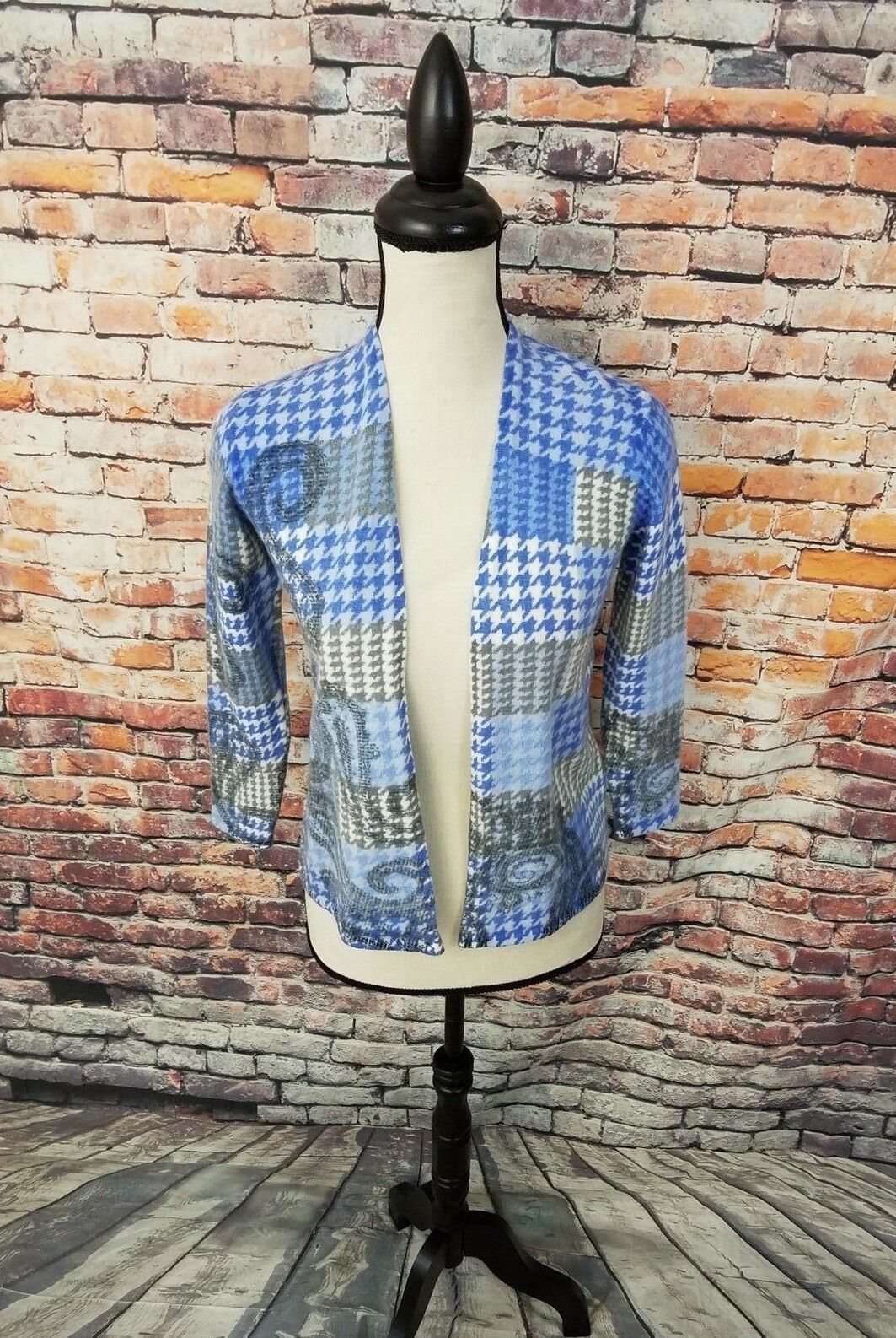 Talbots Women bluee Grey HOUNDSTOOTH Open Front MERINO WOOL Cardigan Sweater PS