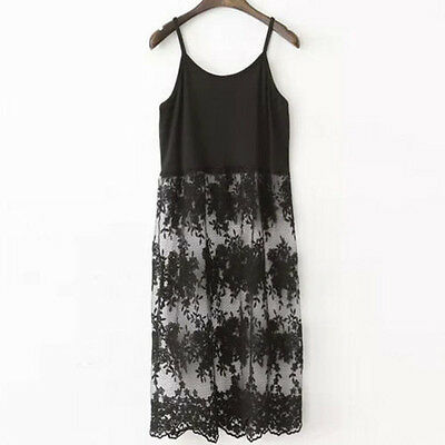 Women Extender  Long Camisole Tank Slip Top Dress Extender Lace Trim Layer Lace