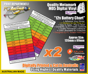 12v Wet Flooded Battery Soc Charge Chart Sticker X2 Car Caravan