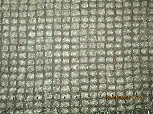 3 YDS BERNHARDT UPHOLSTERY FABRIC SMALL TAN AND BROWN CHECK WITH SILVER