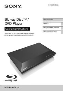 sony bdp s1100 blu ray player owners manual ebay rh ebay com sony blu ray player manual bdp-s185 sony blu ray player manual bdp-s3100