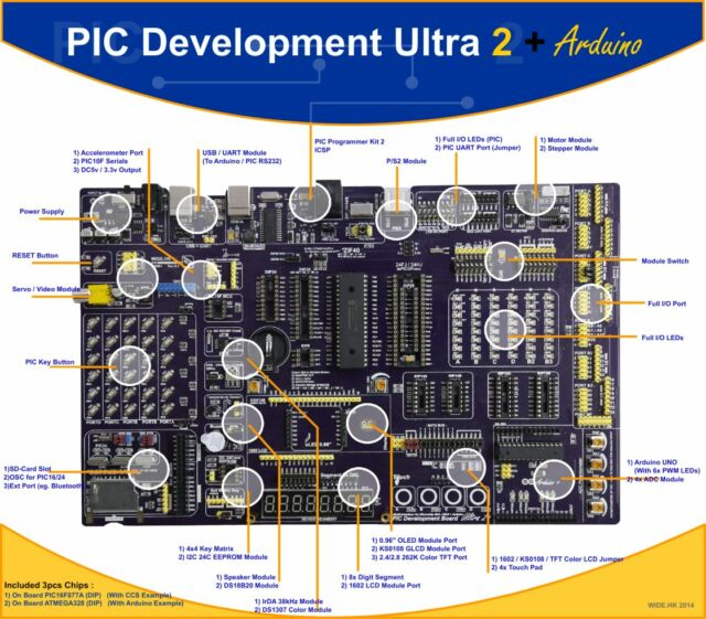 PIC Development Board Ultra 2 with Arduino UNO 328 Function