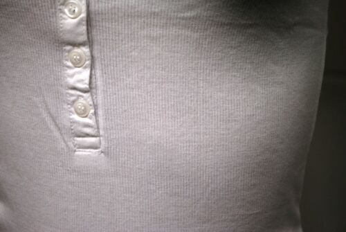 Womens Short Sleeve Button T-Shirt Top Ribbed Cotton Size 10 White PC