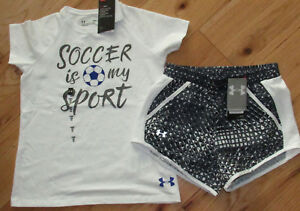 Under Armour Soccer Is My Sport white shirt /& black shorts NWT girls/' M YMD
