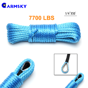 7700lbs 4WD 1//4/'/'x50/' Blue Synthetic Winch Cable Rope Line Recovery w// Sheath