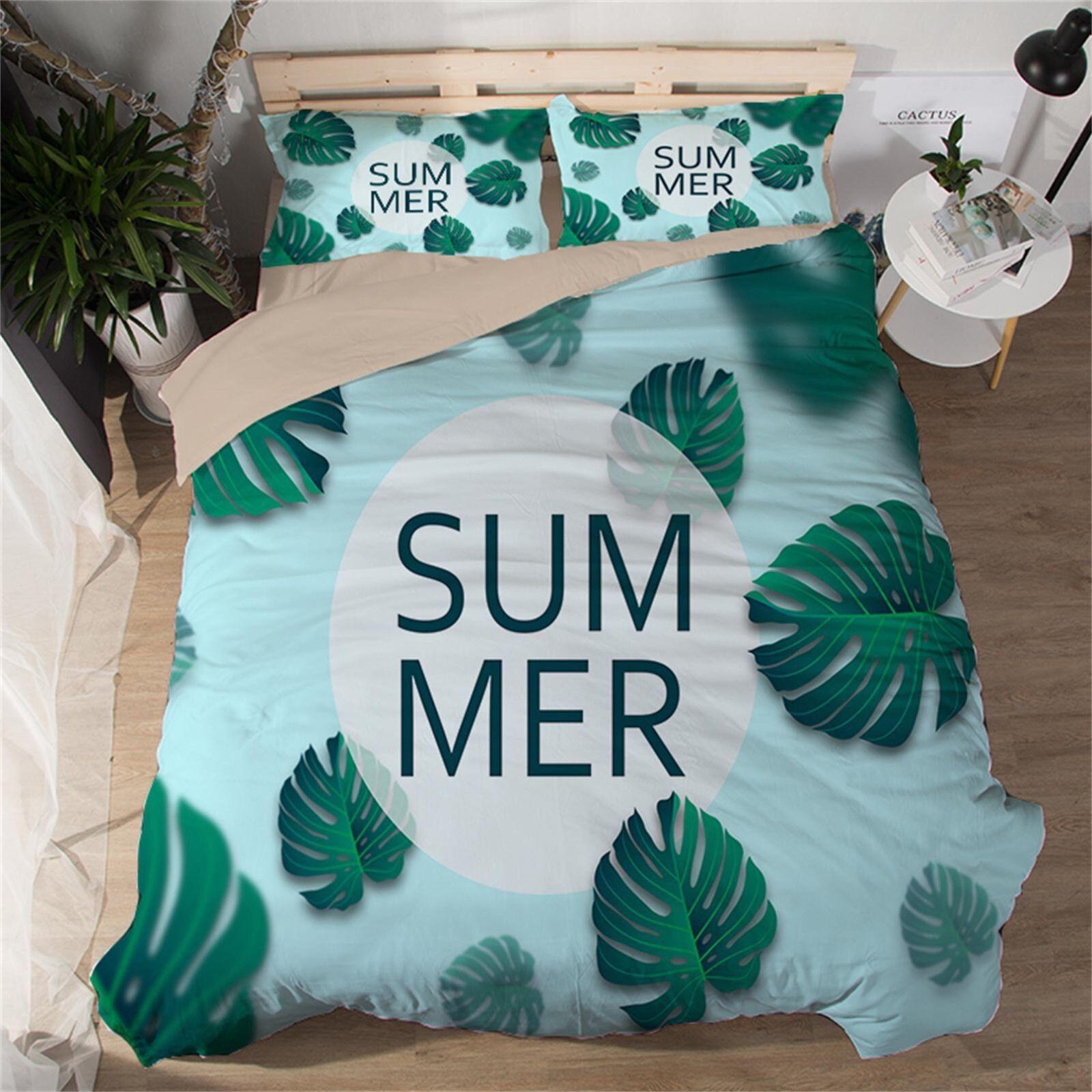 3D Summer Leaf 571 Bed Pillowcases Quilt Duvet Cover Set Single Queen King AU