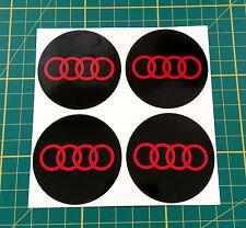 4 x 65mm ALLOY WHEEL STICKER audi logo Red on Black centre cap badge