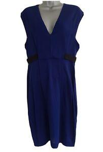WHISTLES Women's Blue Sleeveless Elasticated Waist Pencil Dress. UK 14, EU 42.
