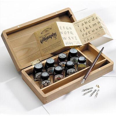 Winsor & Newton Drawing & Calligraphy Inks & Dip Pen Wooden Box Set