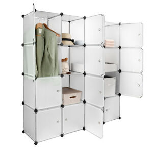 Sortwise® Interlocking Plastic Wardrobe Cabinet 16-Cube Storage and Organizer